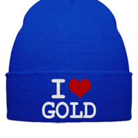 i love gold embroidery hat  - Beanie Cuffed Knit Cap