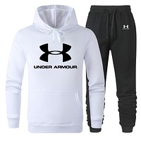 Under Armour 2019 new cotton men and women long-sleeved sweater sports suit two-piece White