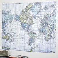 World Atlas Map Tapestry