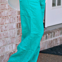 A Day At The Beach Linen Pants: Jade