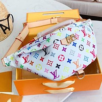 LV New fashion monogram print leather waist bust bag shoulder bag handbag White