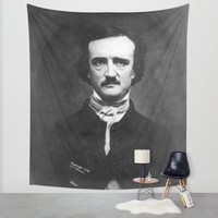 Edgar Allan Poe Portrait Wall Tapestry by All Surfaces Design | Society6