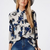 Missguided - Blue Floral Print Oversized Shirt Light Grey