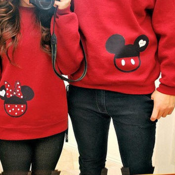 Couple Mickey Mouse Minnie Mouse Disney Inspired 2 Sweatshirts Wedding Anniversary Honeymoon Personalized Custom