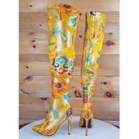 CR Gigi 39 Yellow Satin Oriental Dragon Embroidery OTK Thigh Boot High Heel