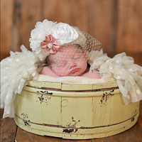 Pillbox Hat, Photography Prop, Photo Prop, Newborn Pillbox Hat, Newborn, Baby, Girl, Pillbox, Hat, Wedding, Shower, Baby Shower, Shower Gift