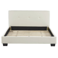 Queen size Modern Platform Bed with Off White Beige Faux Leather Headboard