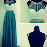 Custom Made Green And Gold Round Neckline Backless Prom Dresses, Long Green Formal Dresses