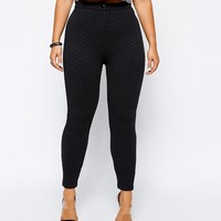 ASOS CURVE Exclusive High Waist Skinny Pant In Texture - Mono