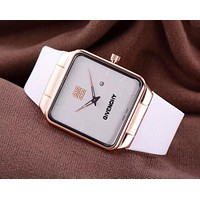 Alwayn Givenchy Watch Trending Square Gold Edge Women Men Lovers Watch White