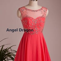 Angel Dragon  New Year Party  Chiffon Prom Dresses Short Evening Gowns