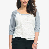 Twist Tees - Grey With White Lace Front Raglan Tee | Torrid