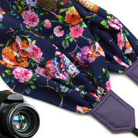 InTePro owls scarf camera strap. Dark purple DSLR / SLR Camera Strap. Colorful camera strap with flowers and birds.