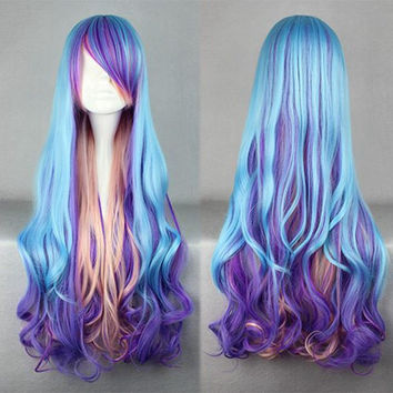 80cm long women blue mix color wig curly weave anime cosplay wigs,Colorful Candy Colored synthetic Hair Extension Hair piece 1pcs WIG-312A