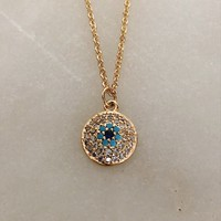 Dainty Gold Evil Eye Round Pendant Necklace