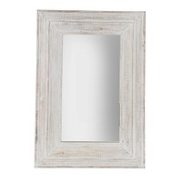 "Wood Frame 24 X 36"" Wall Mirror, Antique White Wb"