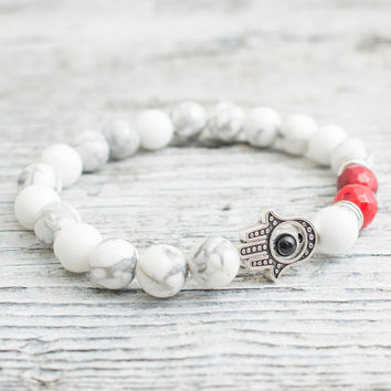 White howlite and faceted red coral beaded silver Hamsa hand stretchy bracelet, made to order yoga bracelet, mens bracelet, womens bracelet