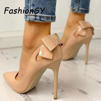 Pointed Toe Bow Style High Heel Pumps