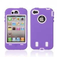 Full Protective Hard Case White Background for iPhone 4/4S Purple