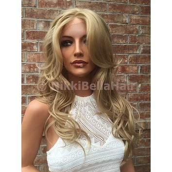 """Natural Blonde Waves Bayalage Ombre Human Hair Blend Full Front Lace Wig 22"""""""