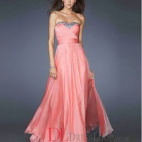 A-Line Sweetheart Chiffon Watermelon Long Prom Dress/Evening Gowns With Beading VTC226