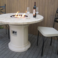 Unique Marble Mosaic Outdoor Patio Dining Firepit Fire Pit Table Gas