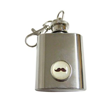 Brown Hipster Mustache Keychain Flask