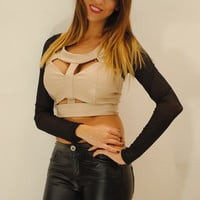 Mesh long sleeves faux leather key hole beige top