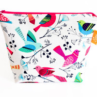 Large Make up Bag Cosmetic Bag Wash Bag Rainbow Birds White Handmade Zippered Pouch Waterproof Wet Bag Nappy