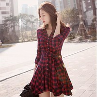 Women's Fashion Long Sleeve Spring Skirt Slim Grid Dress [7939298567]