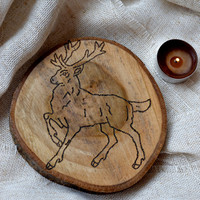 Big Christmas deer coaster-Reindeer Christmas decoration-decor-wood drink coaster-wood coaster-coffee cooking-Winter holidays-Kitchen decor