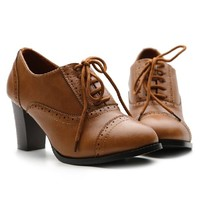 Ollio Women's Classic Chic Lace Up High Heel Chunky Oxford Multi Colore Pump (5.5 B(M) US, Brown)