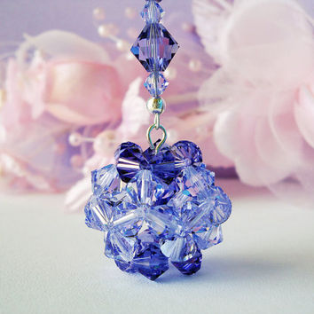 Crystal Ball Car Mirror Charm Swarovski Lavender and Tanzanite Crystal Suncatcher Car Accessories