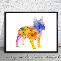 Colorful French Bulldog 5 Watercolor Print, Home Decor, dog watercolor,watercolor painting, French Bulldog art,animal watercolor,Bulldog art