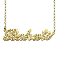 Sparkling Cut Carrie Style Name Necklace Gold Color Personalized Nameplate Necklace Custom Jewelry for Her