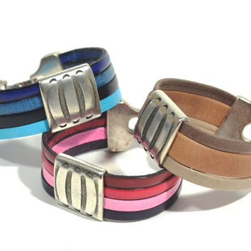Colorful Leather Bracelet * multi strand  leather bracelet * silver bracelet * gifts for her * pink bracelet * gift for girlfriend