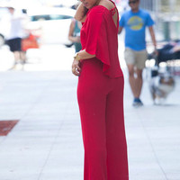 Red Polyester Cape Jumpsuit