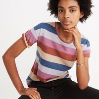 Whisper Cotton Crewneck Tee in Longrock Stripe