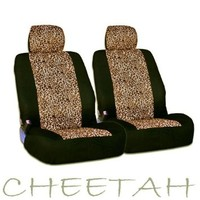 New and Unique YupBizauto Brand 4 Pieces Safari Cheetah Print Universal Size Car Truck SUV Front Seat Covers Set High Quality Velour and Mesh Material Low Back Gift Set Smart Pocket Feature