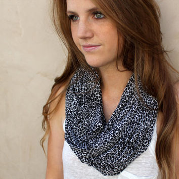 Leopard Infinity Scarf, Loop Scarf, Circle Scarf, Black, Charcoal,White