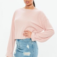 Missguided - Pink Long Sleeve Ribbed Boxy Crop Top