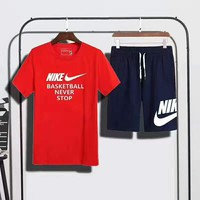 """NIKE """"basketball never stop"""" print short sleeve top navy blue shorts suit two piece suit sportswear H-AHXF"""