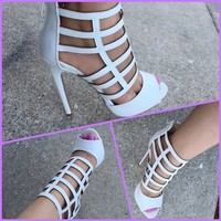 WHITE OPEN TOE CAGED HEEL, STRAPPY HEELS STILETTO HIGH HEEL SANDAL
