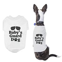 Baby's Guard Dog Shirts Cute Pet Apparel White Puppy Cloth Funny Dogs Tee