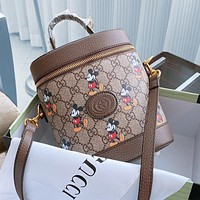 Gucci bucket bag, new style Mickey bucket bag, color continuation of the Ophidia series Bronze