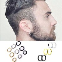 Fashion Women Men Punk Gothic Stainless Steel Simple Round Stud Earrings Lover 3 Colors 3 Size Earring Jewelry
