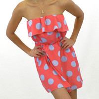 Hollywood Polka Dot Coral Ruffle Dress