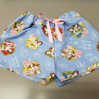 Beauty - and - the - beast - Belle - disney - princess - lumiere - chip - Pj - style - Pajama - boxer - drawstring - shorts