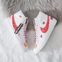 Nike Air Force 1 '07 Just Do It x OFF-WHITE Joint Series High-Top Trailblazer Men's and Women's Sneakers white+red hook