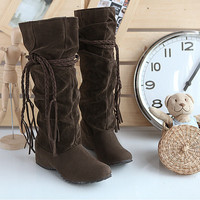 TASSEL SOLID COLOR FASHION BOOTS